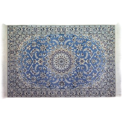One-of-a-Kind Nain Hand-Knotted Blue Area Rug