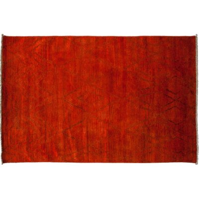 Moroccan Hand-Knotted Red Area Rug