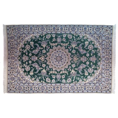 One-of-a-Kind Nain Hand-Knotted Green Area Rug