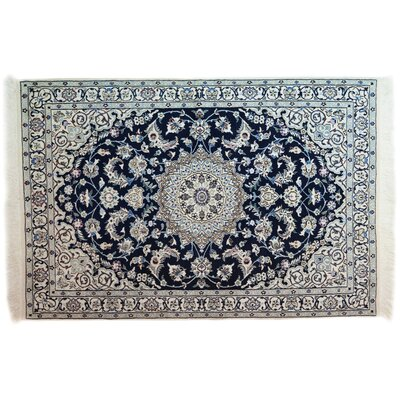 One-of-a-Kind Nain Hand-Knotted Black Area Rug