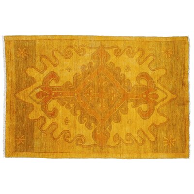 One-of-a-Kind Moroccan Hand-Knotted Yellow Area Rug
