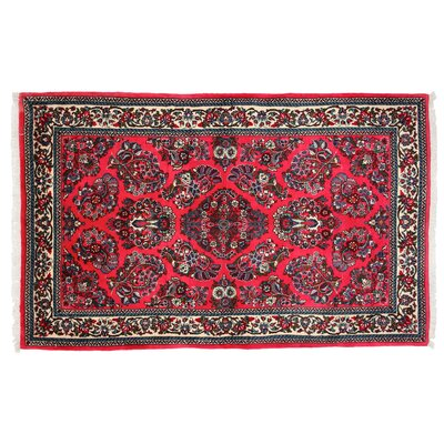 One-of-a-Kind Sarouk Hand-Knotted Red Area Rug