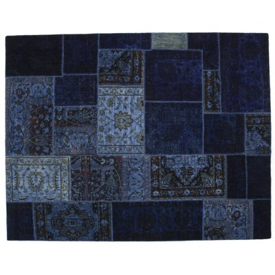 One-of-a-Kind Patchwork Hand-Knotted Blue Area Rug