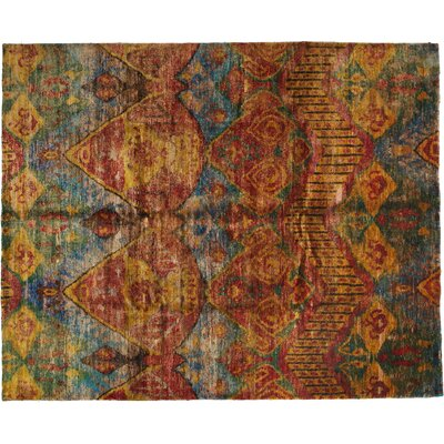 One-of-a-Kind Sari Silk Hand-Knotted Multicolor Area Rug