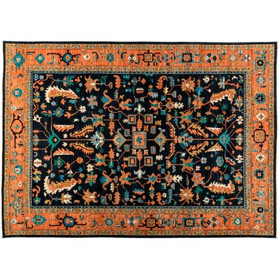 Serapi Hand-Knotted Black Area Rug