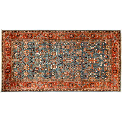 Serapi Hand-Knotted Blue Area Rug