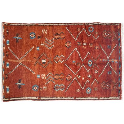 One-of-a-Kind Shag Hand-Knotted Red Area Rug