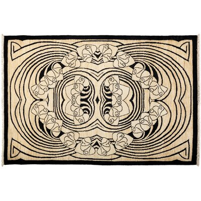 One-of-a-Kind Shalimar Hand-Knotted Black Area Rug