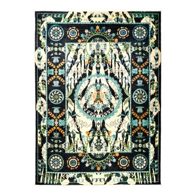 One-of-a-Kind Suzani Hand-Knotted Black Area Rug