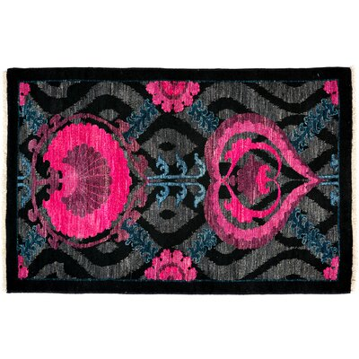 Suzani Hand-Knotted Black Area Rug Rug Size: 31 x 410