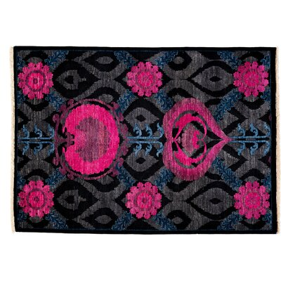 Suzani Hand-Knotted Black Area Rug