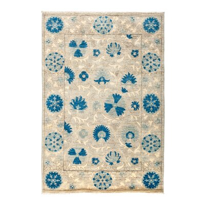 Suzani Hand-Knotted Blue Area Rug