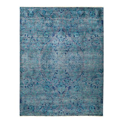 One-of-a-Kind Suzani Hand-Knotted Blue Area Rug