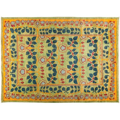 One-of-a-Kind Suzani Hand-Knotted Green/Yellow Area Rug