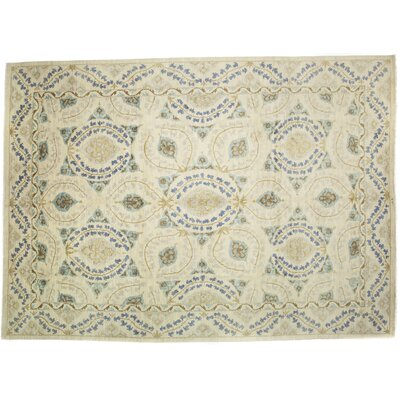 Suzani Hand-Knotted Ivory Area Rug