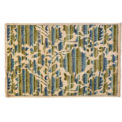 One-of-a-Kind Suzani Hand-Knotted Ivory Area Rug