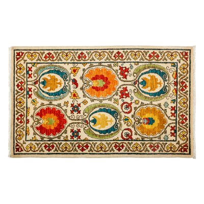 One-of-a-Kind Suzani Hand-Knotted Multicolor Area Rug Rug Size: 3'1