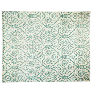 One-of-a-Kind Suzani Hand-Knotted Green Area Rug