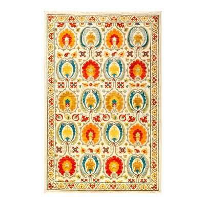 Suzani Hand-Knotted Multicolor Area Rug Rug Size: 52 x 77
