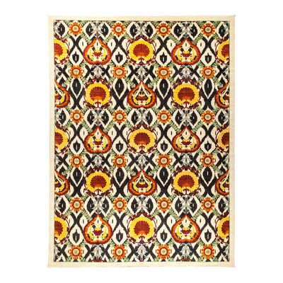 Suzani Hand-Knotted Orange Area Rug Rug Size: 101 x 135