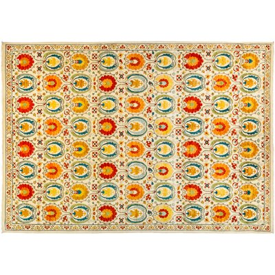 One-of-a-Kind Suzani Hand-Knotted Multicolor Area Rug Rug Size: 103 x 147