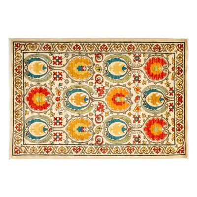 One-of-a-Kind Suzani Hand-Knotted Multicolor Area Rug Rug Size: 4'2