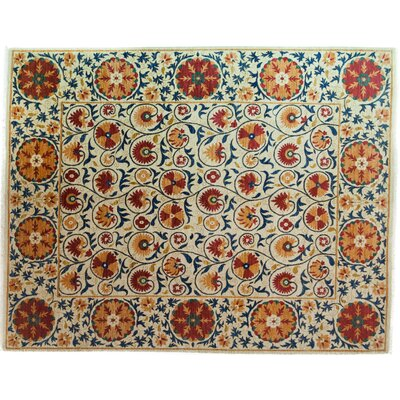 One-of-a-Kind Suzani Hand-Knotted Multicolor Area Rug