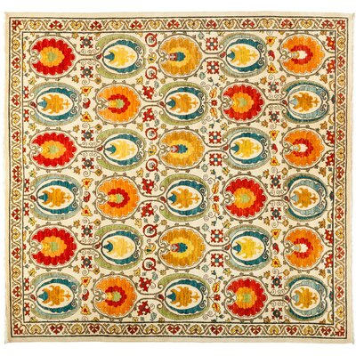 One-of-a-Kind Suzani Hand-Knotted Multicolor Area Rug Rug Size: 83 x 87