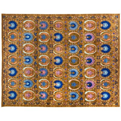 One-of-a-Kind Suzani Hand-Knotted Multicolor Area Rug Rug Size: 93 x 117