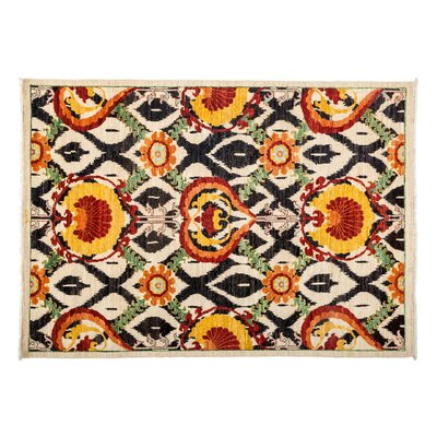 One-of-a-Kind Suzani Hand-Knotted Orange Area Rug Rug Size: 61 x 63