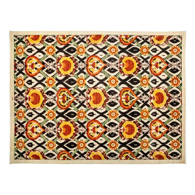 One-of-a-Kind Suzani Hand-Knotted Orange Area Rug Rug Size: Runner 41 x 125