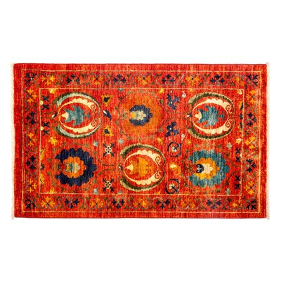Suzani Hand-Knotted Orange Area Rug