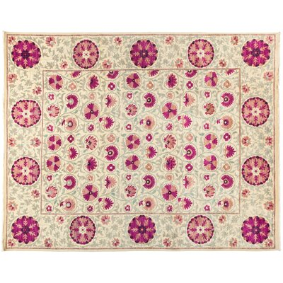 One-of-a-Kind Suzani Hand-Knotted Pink Area Rug