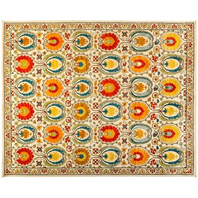 One-of-a-Kind Suzani Hand-Knotted Multicolor Area Rug Rug Size: 82 x 103