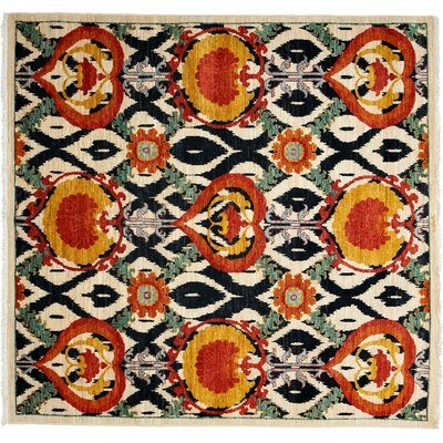 One-of-a-Kind Suzani Hand-Knotted Orange Area Rug Rug Size: 53 x 75