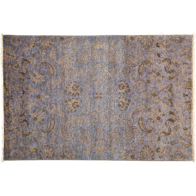 One-of-a-Kind Suzani Hand-Knotted Purple Area Rug