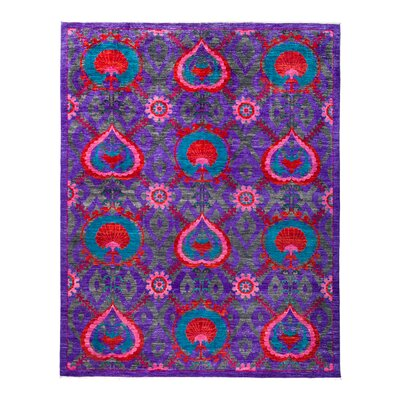 One-of-a-Kind Suzani Hand-Knotted Purple Area Rug Rug Size: 81 x 105