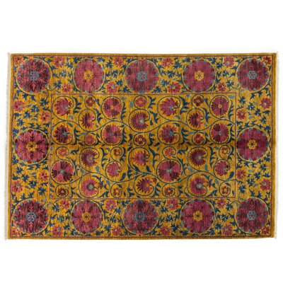 One-of-a-Kind Suzani Hand-Knotted Yellow Area Rug