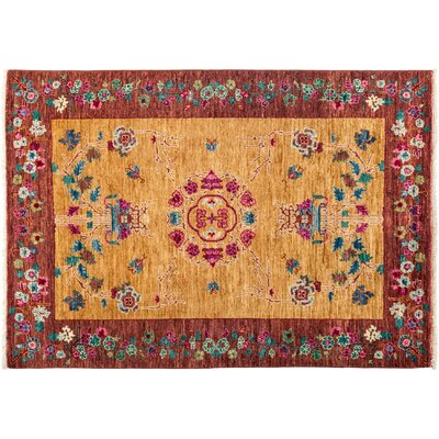 Suzani Hand-Knotted Yellow Area Rug