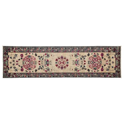 One-of-a-Kind Suzani Hand-Knotted Beige Area Rug