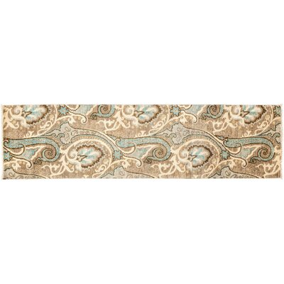 One-of-a-Kind Suzani Hand-Knotted Beige Area Rug Rug Size: Runner 27 x 106