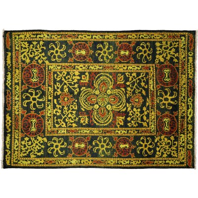 One-of-a-Kind Vibrance Hand-Knotted Black Area Rug