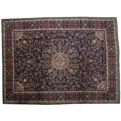 One-of-a-Kind Tabriz Hand-Knotted Black Area Rug