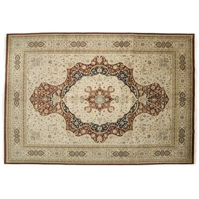 One-of-a-Kind Tabriz Hand-Knotted Ivory Area Rug