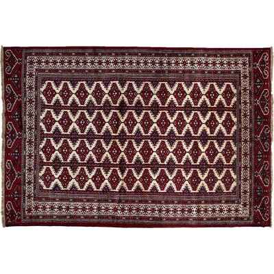 One-of-a-Kind Torkaman Hand-Knotted Red Area Rug