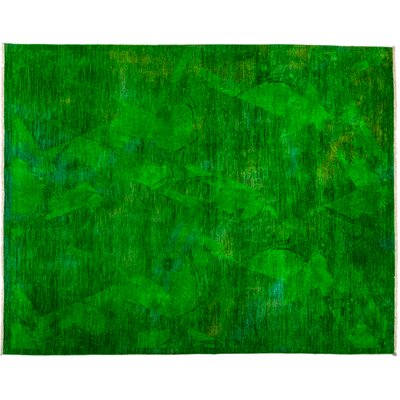 One-of-a-Kind Vibrance Hand-Knotted Green Area Rug