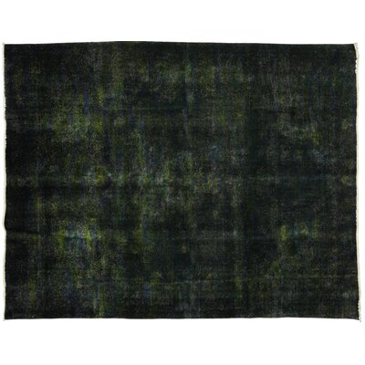 Vintage Hand-Knotted Green Area Rug