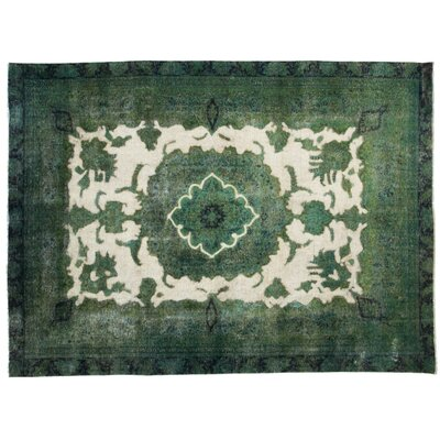 One-of-a-Kind Vintage Hand-Knotted Green Area Rug