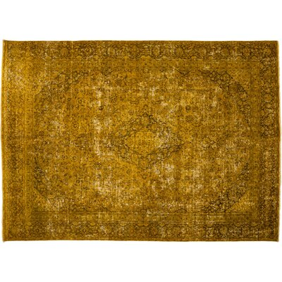 Vintage Hand-Knotted Yellow Area Rug