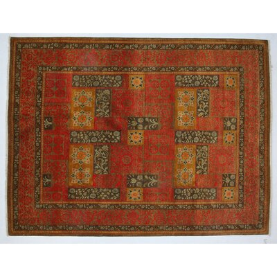 One-of-a-Kind Suzani Hand-Knotted Orange Area Rug